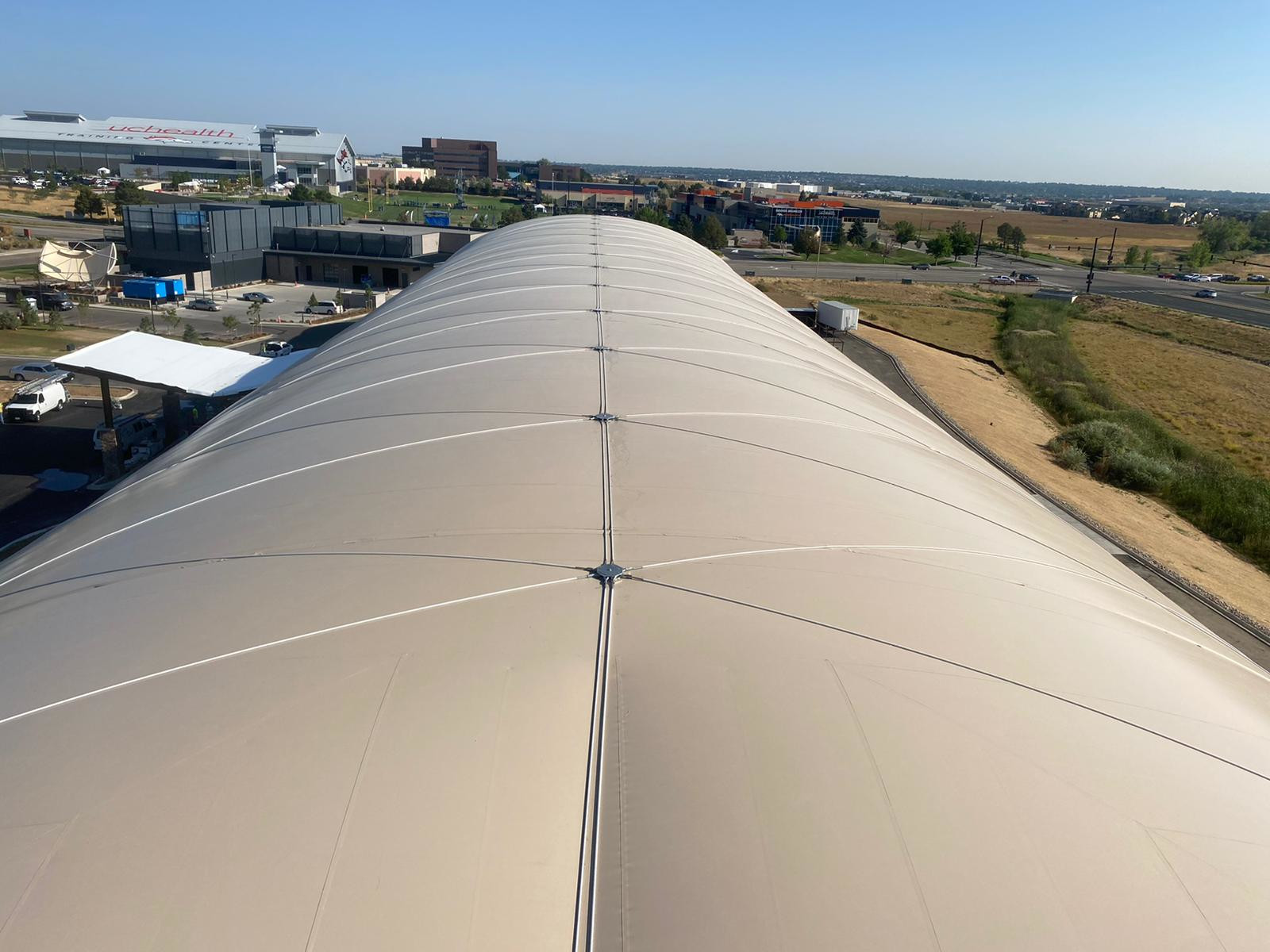 cable net air supported fabric structure pvc membrane